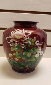 Rare Antique Japanese Cloisonne Artware Vase, Pigeon Blood Overlay w/Spider Mum Floral Design ~ works ~ 7 in. tall. Makers Mark in Base Rim.