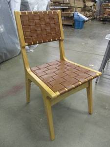 Beautiful Woven Leather & Wood Chair