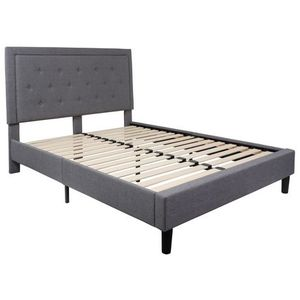 Roxbury Tufted Upholstered Queen Size Platform Bed in Light Gray Fabric