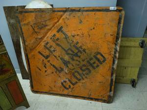 Vintage metal Left Lane Closed sign