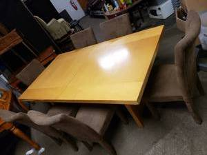 Big Light Blonde Table with 6 Chairs