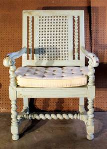 Large Cane Back Chair with Cushion
