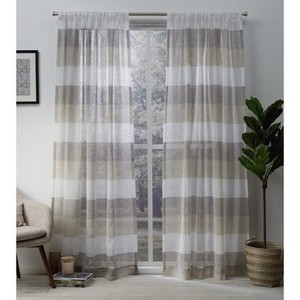 "Set of 2 Bern Rod Pocket Window Curtain Panels Exclusive Home, Natural - 50""x84"""