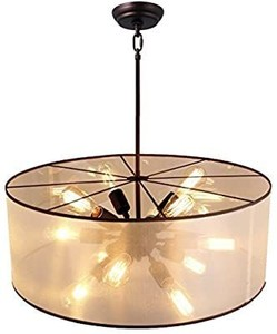 27  Drum Shade Ceiling Light Fixture Pendant Retro Industrial Sputnik Modern Traditional/Classic Rustic/Lodge Retro Lantern Drum Ceiling Lighting Fixture (27  Width X 12.6  Height)