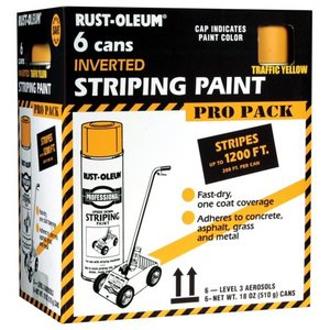 Rust-Oleum Professional Striping Paint Yellow, Contractor 6pk