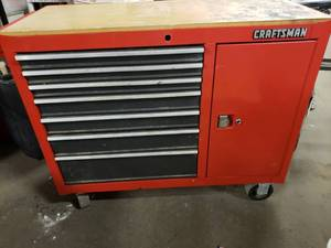 "Craftsman 40"" Rolling Tool Box with Work Top. Contents included"