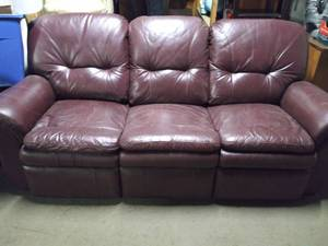 Burgundy Leather Couch with Recliners
