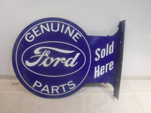 Double-Sided Metal Ford Genuine Parts Sign