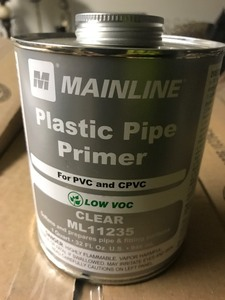 Five large cans of plumbing primer for PVC and CPBC as pictured