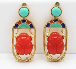 Hattie Carnegie Egyptian Revival Scarab Earrings or Pendants