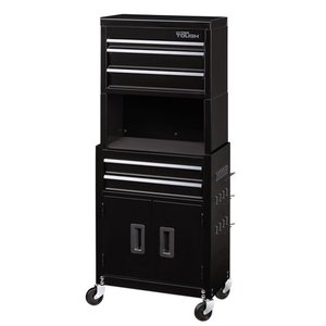 Hyper Tough 20-Inch 5-Drawer Rolling Tool Chest and Cabinet Combo with Riser, W20CMB5R