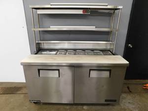 True 60 Inch Sandwitch Prep Table w/Overshelf and Strip Heater