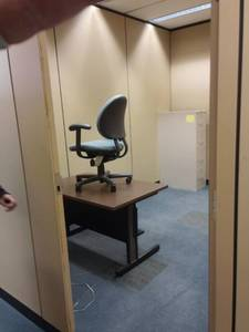Single Wood Look Top Desk, Rolling Desk Chair and Filing Cabinet