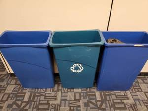 Lot of 3 Blue Recycling Waste Cans