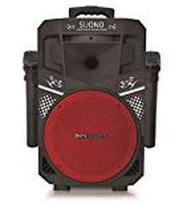 Pure Acoustics MCP-75 Suono Wireless Portable Bluetooth Speaker with 2 Microphones FM Radio Party Karaoke Machine Sound System Smartphone Soundstream Red & Black