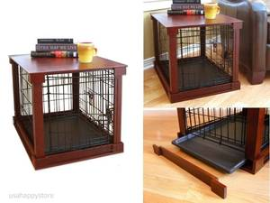Dog Kennel Cage with Crate Cover ,Mahogany