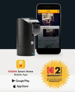 Kodak Cherish F685 Home Security Camera With Mobile App - Full-Hd Wireless Security Camera System With Infrared Night-Vision, Battery, Tilt, Pan, Zoom & 120Deg View