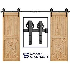 Smartstandard 10' Double Door Sliding Barn Door Hardware with Big Wheel Hangers