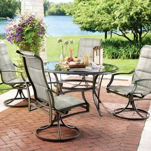 Hampton Bay Statesville 5-Piece Padded Sling Patio Dining Set with 53 in. Glass Top