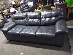 Nice Gray Leather Tufted Couch