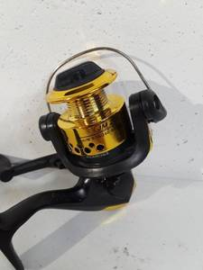 JM200 Fishing Spining Reel, Gold, Open Face.