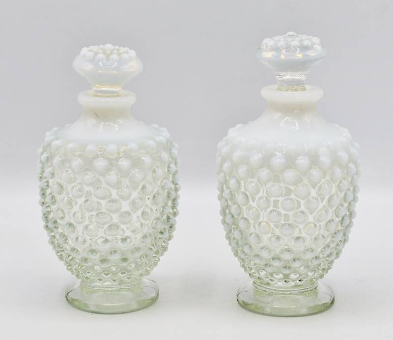 2 Fenton White Hobnail Art Glass Vanity PERFUME BOTTLE w Stopper