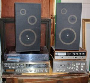 Vintage Emerson & Vintage Studio Standard by Fisher and Fisher 420 Stereo Equipment with Speakers