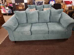 Light Blue Microfiber Couch