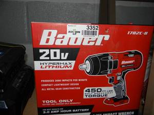 NEW IN BOX!! BAUER 20V Hypermax Lithium-Ion Cordless 1/2 In. Impact Wrench - Tool Only
