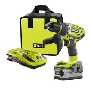 RYOBI 18-Volt ONE+ Lithium-Ion Cordless Brushless 1/2 in. Hammer Drill/Driver Kit with 4.0Ah LITHIUM+ Battery, Charger and Bag