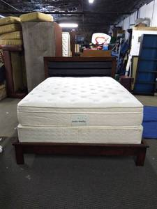 Nice Wood/Padded Leather Queen Bed