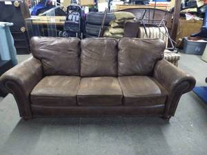 Nice Brown Studded Leather Couch