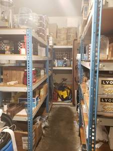 High dollar lot! Racking and all contents on shelves