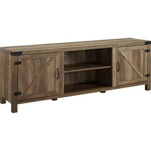 "70"" Rustic Farmhouse Barn Door Wood TV Stand - Rustic Oak"