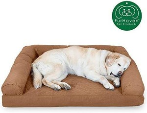 Furhaven Pet Dog Bed | Orthopedic Sofa-Style Traditional Living Room Couch Pet Bed w/ Removable Cover for Dogs & Cats