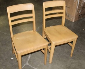 2 - Remington Rand Solid Wood Birch Finish Chairs