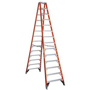 Werner 14 ft. Fiberglass Twin Step Ladder with 300 lb. Load Capacity Type IA