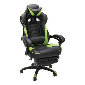 110 Racing Style Reclining Ergonomic Leather Gaming Chair with Footrest Green - RESPAWN, Adult Unisex