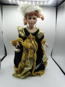 "16"" victorian style porcelain doll with red hair and green eyes"