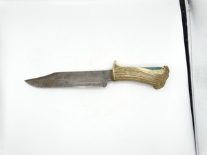 "approximately 14"" handmade knife with elk antler handle with turquoise in lay"