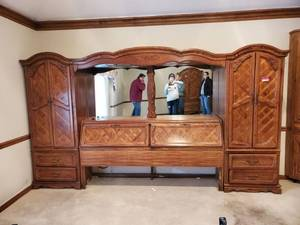 King Size Thomasville Bed Frame with His and Her Cabinets