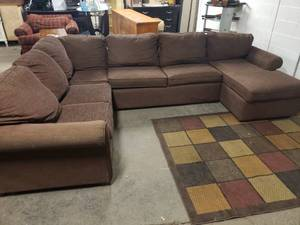 Nice 4 Piece Chocolate Brown Sectional by England