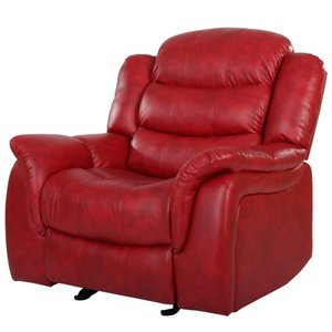 Christopher Knight Home Merit Contemporary Glider Recliner Chair, Red Leather  Husker Man Cave Chair