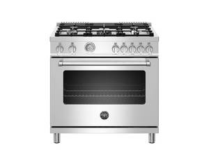 Bertazzoni 36 inch All Gas Range, 5 Burners Stainless Steel