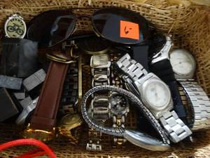 Miscellaneous Lot: assorted watches, wrist jewelry, keychain charms: Faded Glory, watch corp,jack daniels, Explraess, anne klein II, KC Chiefs
