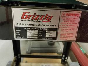 Grizzly Combination Sander G1014Z