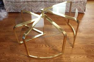 Mid-century Modern Accordion 3 Tiered Glass and Brass Side/Coffee Table