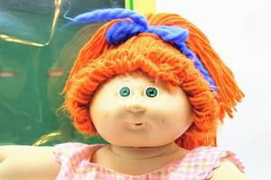 Cabbage Patch Kids - Vintage 1985 Redhead with Green Eyes and Bunny Slippers - Karina Marie