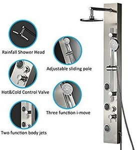 Vantory Shower Panel System Real #304 Stainless Steel Wall Mount,Rainfall,Multi-functional