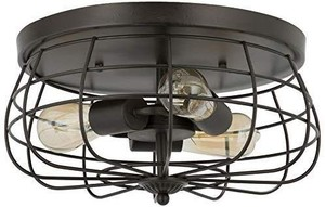 CO-Z 15 Inch Industrial 3-Light Vintage Metal Cage Flush Mount Ceiling Light, Oil Rubbed Bronze Finish
